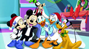 mickey mouse christmas celebration with friends wallpaper hd