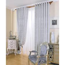 White Contemporary Curtains Modern Curtains Silver Pattern Embroidery Polyester Room Darkening