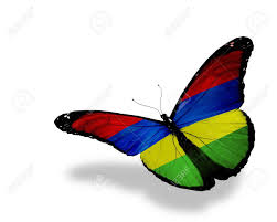 Mauritius Flag Mauritius Flag Butterfly Flying Isolated On White Background
