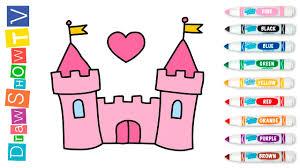 draw castle princess coloring pages video kids