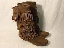 womens fringe boots size 9 minnetonka moccasin fringe boots ebay
