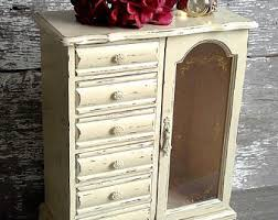 Large White Jewelry Armoire Wood Jewelry Box Etsy