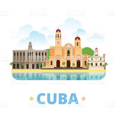 cuba country badge fridge magnet design template flat cartoon