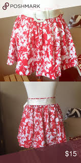 hawaiian pattern skirt nwt red floral skirt forever 21 skirt hawaiian and floral