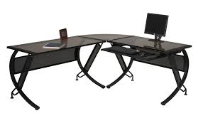 L Shaped Black Glass Desk Glass Top L Shaped Desk Voicesofimani