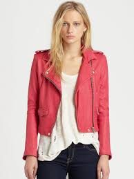 pink motorcycle jacket iro leather motorcycle jacket in pink lyst