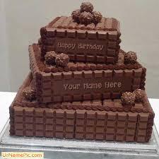 write name on chocolate layered birthday cake happy birthday