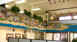 amanda lutz art mural of venice ca in re max realty office