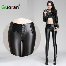 Real Leather Leggings Guoran Women Black Leather Pants Fleece Female Skinny Leather