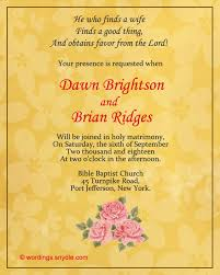invitation marriage wedding invitation letter format in new christian wedding