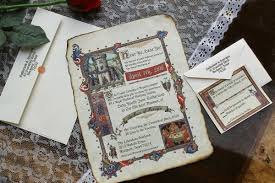 medieval renaissance royal aged scroll wedding invitations
