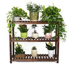 amazon com 3 tier wood shelf plant stand bathroom rack garden