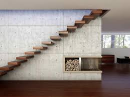 stairs design concrete wall design with red wood floor and corner