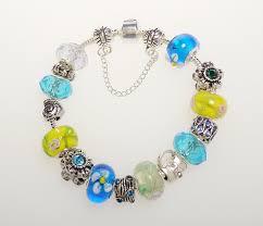 pandora glass bracelet images Pandora inspired charm bracelet aqua blue and green jpg
