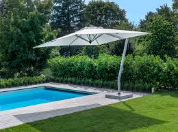 Offset Patio Umbrella With Mosquito Net by White Polyester Offset Outdoor Patio Umbrella With Aluminium