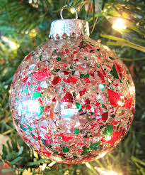 crushed glass ornaments oliveloaf design