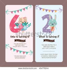 child birthday party invitations cards wishes greeting card set greeting card design cat stock vector 454779244