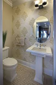 traditional powder room with interior wallpaper u0026 pedestal sink