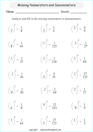 calculate the value of the missing numerators and denominators in