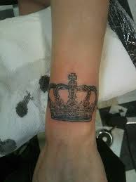 small crown with name tattoo on wrist in 2017 real photo