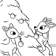 rudolph red nosed reindeer christmas tree coloring
