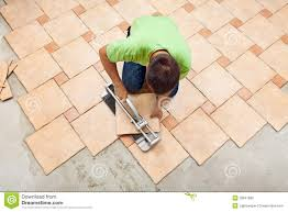 stock photo laying superb garage floor tiles with laying