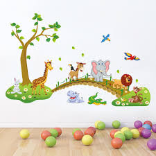 compare prices on bridge wall decal online shopping buy low price kids babies boys girls room wall decor poster cartoon animals lined up to walk across the