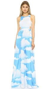 mara hoffman cloud print linen racer back maxi dress in sky blue