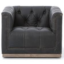 Swivel Club Chair Upholstered Maxx Swivel Chair With Black Upholstery By Four Hands Wolf And