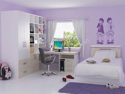 purple wall paint decoration with white wardrobe built in with