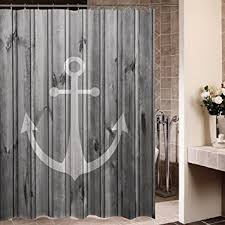 Shower Curtains Rustic Waterproof Decorative Rustic Gray Anchor Shower