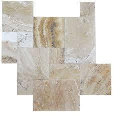 leonardo brushed chiseled french pattern travertine tiles
