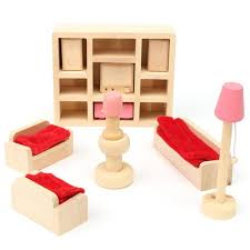 5pcs set wooden doll living room house furniture play