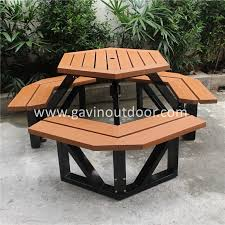 Hexagon Patio Table Recycled Wood And Iron Hexagon Patio Furniture Outdoor Picnic