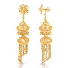 gold kaan earrings jaali gold jhumkas jewellery india online caratlane