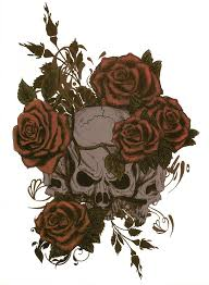 skulls with roses temporary