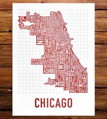 Chicago Neighborhoods Map Chicago Neighborhood Map Art Print Features Local Pride Ork