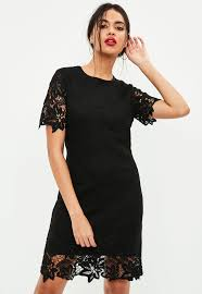 black lace dress black lace overlay sleeve dress missguided