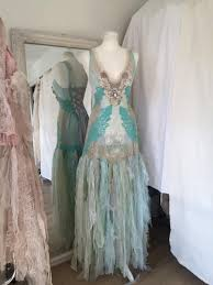 Beach Shabby Chic by Wedding Dress Turqoise Fairy Lace Wedding Dress Shabby Chic