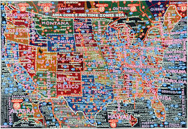 Timezone Map Usa by Paula Scher