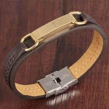 leather bracelet with gold images Genuine leather bracelet men stainless steel leather men cross jpg