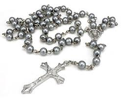 bead cross necklace images Holy grey long rosary beads cross in silver tone necklace for jpg