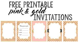 blank invitations pink and gold invitations free printable paper trail design
