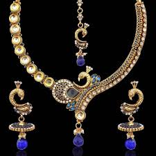 diamond pearl necklace set images Buy blue stones peacock on a branch kundan pearl necklace set by jpg