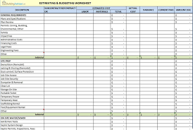 Building Construction Estimate Spreadsheet Excel Building Advisor Estimating And Budgeting Worksheet