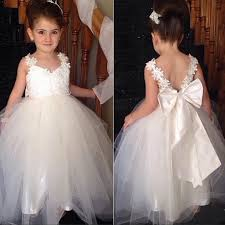 flower girl dresses a line white tulle flower girl dress with ribbon