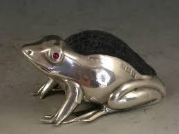 Pin Cushion Tree Edwardian Novelty Silver Frog Pin Cushion Small Size At 1stdibs