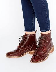 womens boots asos asos artistry leather lace up brogue boots in brown lyst