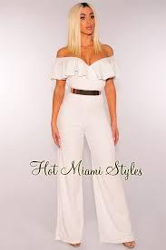white wide leg jumpsuit ruffle shoulder wide leg jumpsuit