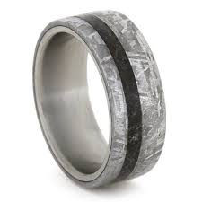 meteorite wedding band meteorite wedding band dinosaur bone ring titanium ring